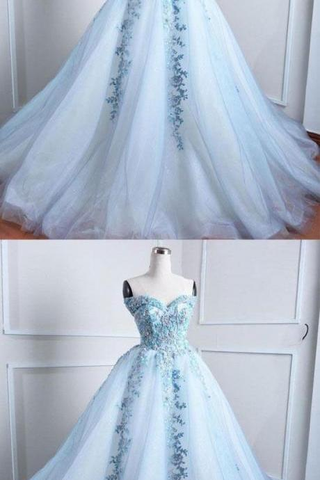 Light blue tulle lace applique long prom dress, blue evening dress,Custom Made,Party Gown,Evening Dress