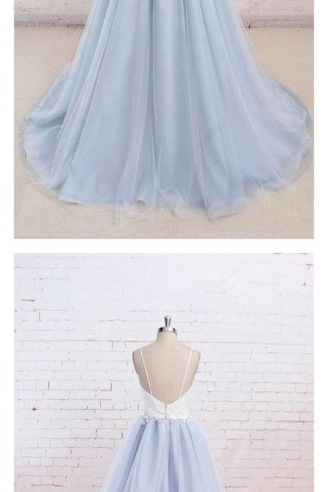 Spaghetti Straps White and Sky Blue Long Prom Dresses,Custom Made,Party Gown,Evening Dress