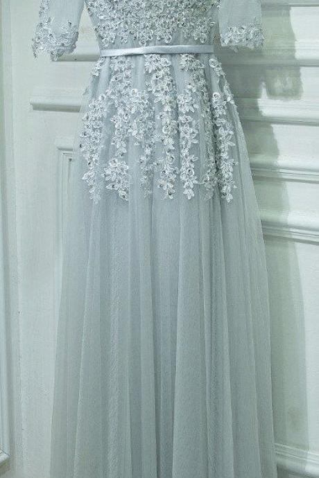 V-Neck Long Prom Dress with Middle Sleeves, Formal Dress For Teens ,Custom Made,Party Gown,Evening Dress