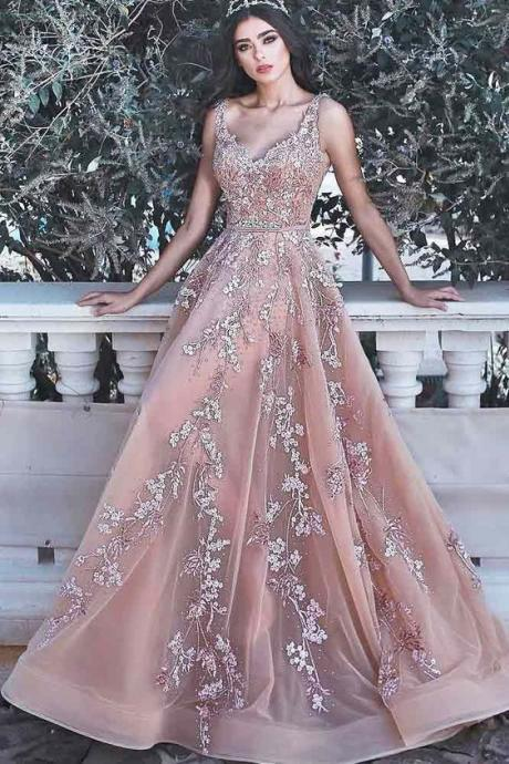 Charming A-Line Sleeveless Tulle Long Prom/Evening Dresses with lace,Custom Made,Party Gown,Evening Dress