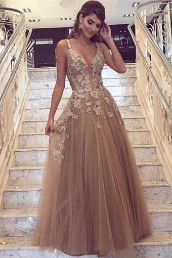 Sexy Backless Deep V Neckline Lace A line Lace Long Custom Evening Prom Dresses,Custom Made,Party Gown,Evening Dress