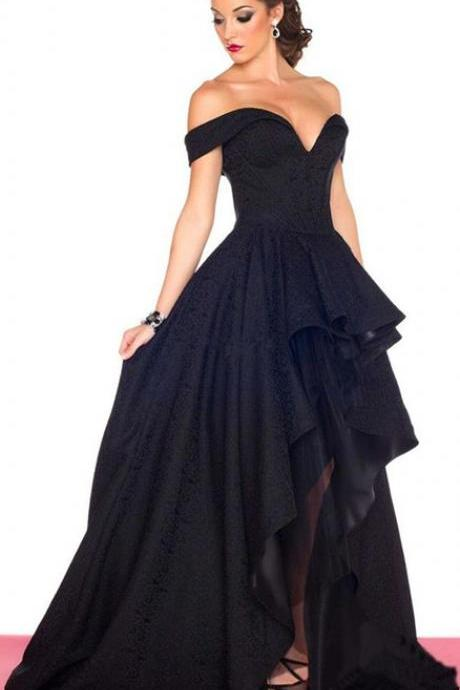 Black prom dress , Off the shoulder long prom dresses, High low prom dress, Custom Made,Party Gown,Evening Dress