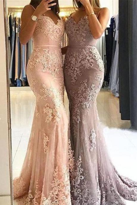 Sweetheart Spaghetti Straps Lace Mermaid Floor Long Custom Evening Prom Dresses,Custom Made,Party Gown,Evening Dress