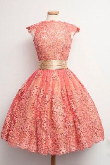 Vintage Prom/Homecoming Dress ,Coral Ball Gown Cowl Neck with Sash ,Custom Made,Party Gown,Evening Dress