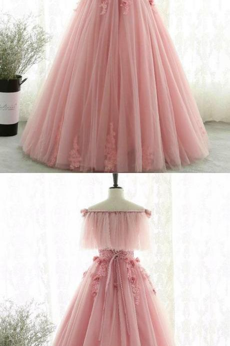 Unique design pink tulle off shoulder evening gown,Custom Made,Party Gown,Evening Dress