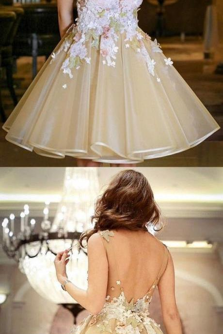 A-Line Scoop Knee-Length Backless Champagne Organza Homecoming Dress with Appliques,Custom Made,Party Gown,Evening Dress