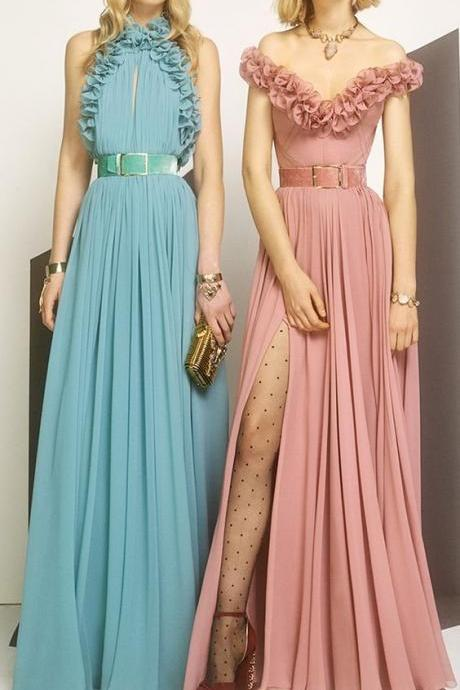 Sexy Long Evening Dress ,Floor Length ,New Fashion,Sleeveless Ruffled Gown, Cheap Long Prom Dresses,Cheap Prom Dresses,Evening Dress,New Fashion,Party Gown