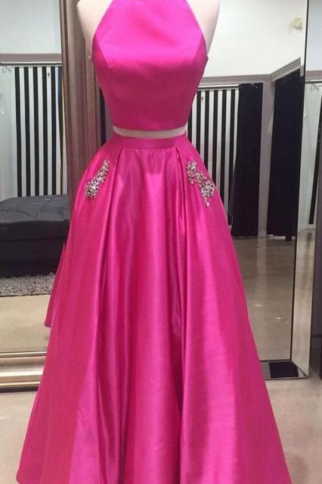 A-line/Princess Deep V-neck Lace with Pearl Beaded Long Prom Dresses ,Two Pieces Prom Dresses,Simple Prom Dresses,Party Dress, Formal Women Dress ,New Fashion,Party Gown,Evening Dress