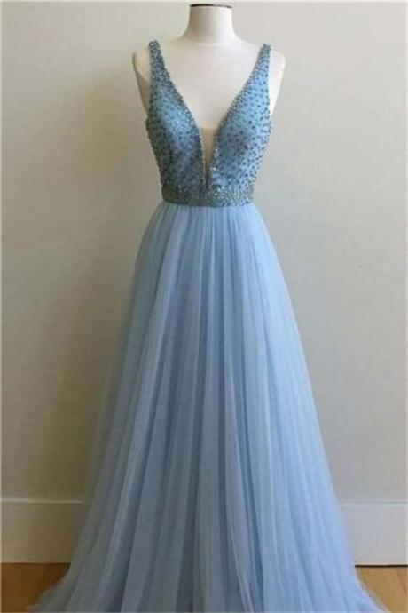 Beautiful Light Blue Long A-line Deep V-neck Beading Tulle Elegant Prom Dresses , Formal Prom Dress ,Party Gown,Evening Dress,Cheap Prom Dress
