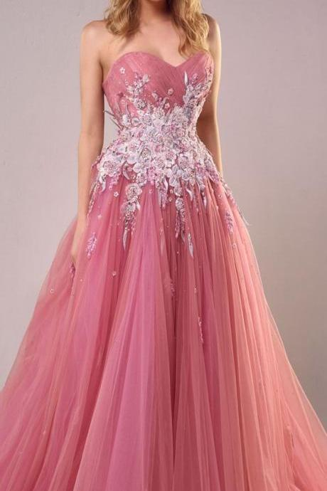 A line prom dress,pink long prom dress,Custom Made,Party Gown,Cheap Prom dress