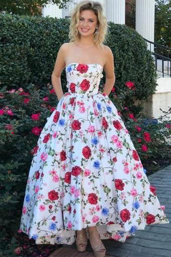 A-line Prom Dresses Strapless Floral Ankle-length Long Prom Dress/Evening Dress ,Custom Made,Party Gown,Cheap Prom dress