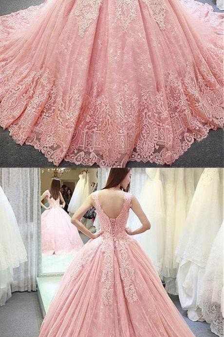 Fantastic Tulle & Lace Jewel Neckline Ball Gown Wedding Dress With Lace Appliques,Long Party Gowns,Custom Made,Party Gown,Cheap Prom dress