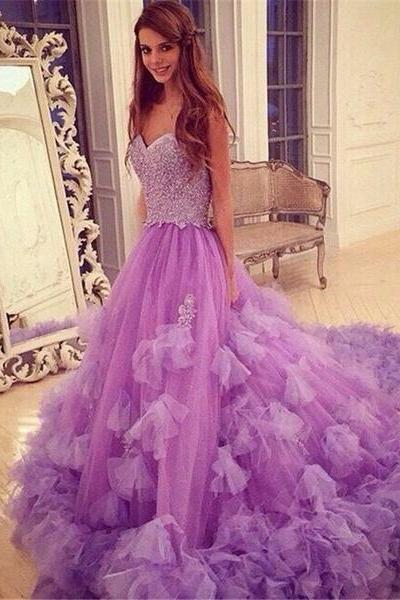 Luxurious Purple Long Prom Dress - A-Line Sweetheart Sleeveless Beading Flowers,Custom Made,Party Gown,Cheap Evening dress