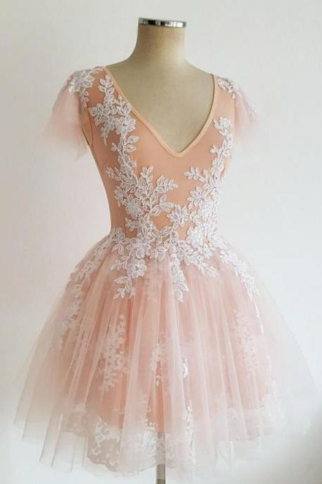 Exquisite Tulle V-neck Short A-line Homecoming Dresses With Appliques,Custom Made,Party Gown,Cheap Evening dress
