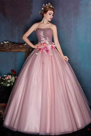 Strapless Ball Gown ,Formal Occasion Dress with Flowers , Floor Length Dress,Custom Made,Party Gown,Cheap Evening dress