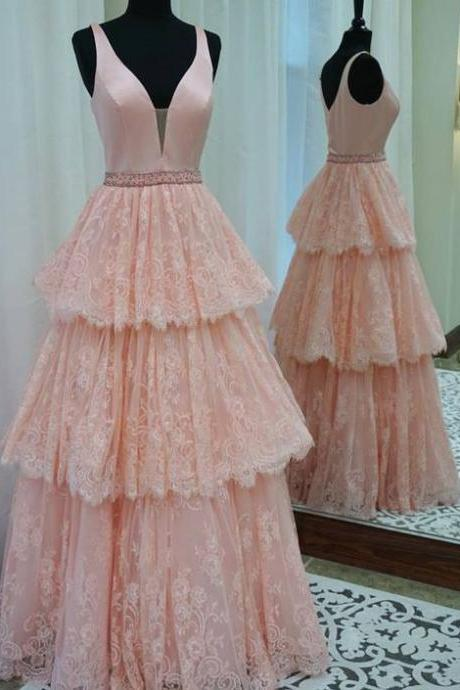 A-Line Prom Dresses,V-Neck Prom Dresses,Pink Prom Dresses,Beading Prom Dresses,Custom Made,Party Gown,Cheap Evening dress