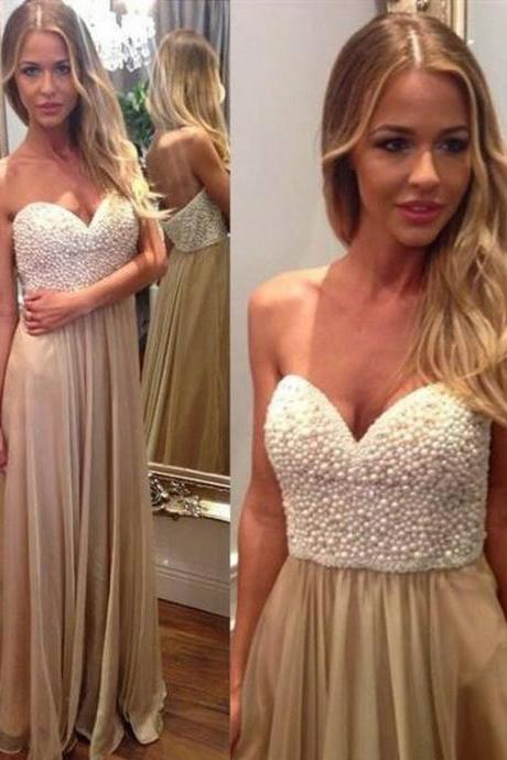 Long Prom Dress With Pearls Top Formal Dresses ,Custom Made,Party Gown,Cheap Evening dress