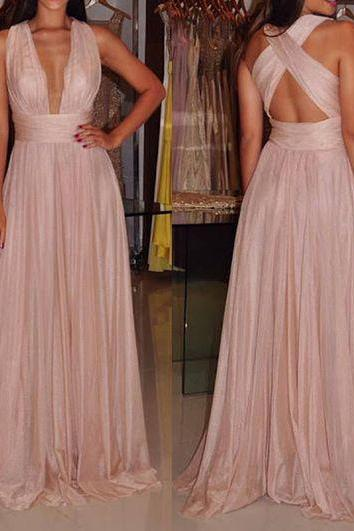 Sexy A Line Evening Dress Long Prom Formal Party Gowns,Deep V Neck Long Pink Chiffon Sexy Evening Party Dress ,Custom Made,Party Gown,Cheap Evening dress