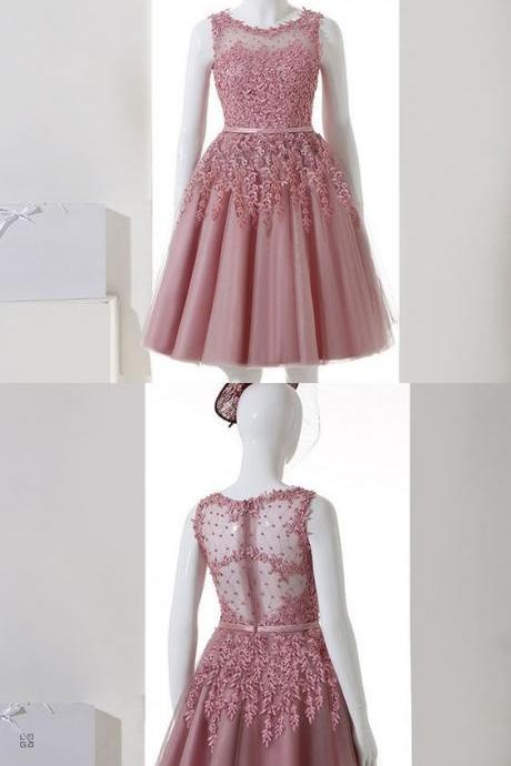 Short A-Line Tulle Homecoming Dress,Lace Evening Dress,Homecoming Dress,Custom Made,Party Gown,Cheap Evening dress