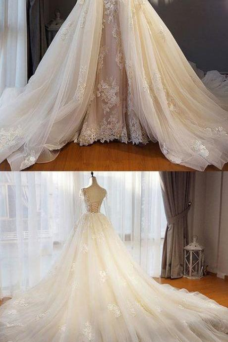 Unique champagne tulle lace long prom dress, champagne wedding dress,Custom Made,Party Gown,Cheap Evening dress