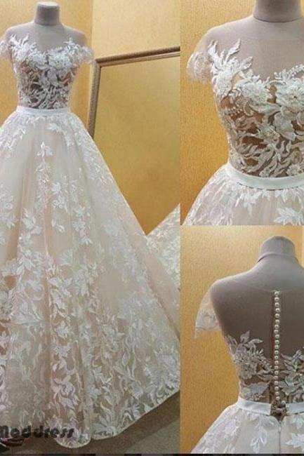 Lace Applique Wedding Dress Short Sleeve A-Line Bridal Gowns Long Prom Dress,Custom Made,Party Gown,Cheap Evening dress