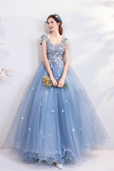 Blue V-neck Tulle Quinceanera Dresses,Custom Made,Party Gown,Cheap Evening dress