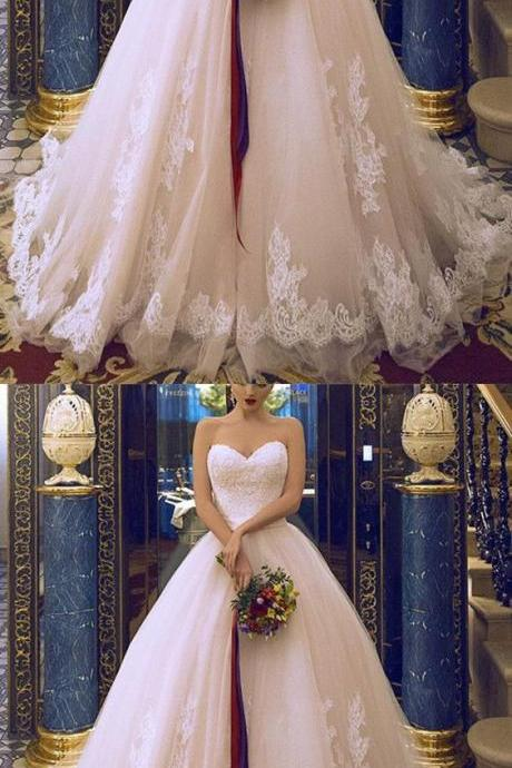 Princess Style Sweetheart Tulle Ball Gowns Wedding Dresses Lace Appliques