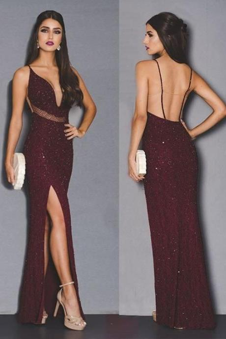 Sexy V Neck Prom Dress,Sexy Prom Dress,Cheap Evening Dress,Custom Made,Party Gown