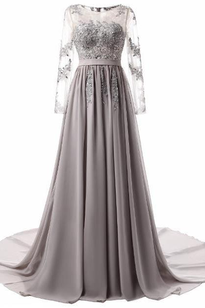 Chiffon Prom Dresses with long sleeve, 2018 Long Prom Gowns ,Custom Made,Party Gown,Cheap Prom Dress