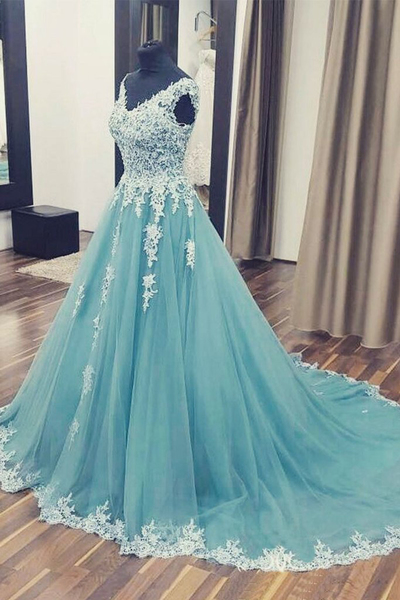A Line Prom Dress,V neck Prom Dress,Appliques Prom Dress,Long Prom Gown,Formal Party Dress,Evening Dress,Custom Made