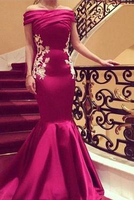 Mermaid Prom Dresses,Off Shoulder Party Gown,Evening Dress,Custom Made