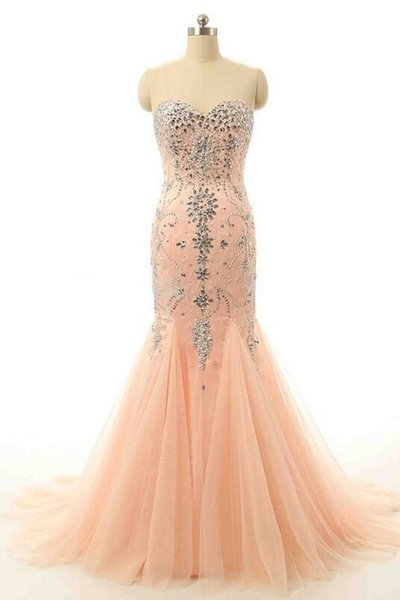 Orange tulle sweetheart court train party dress, beading trumpet/mermaid prom dresses,Evening Dress,Custom Made