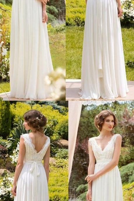 Simple Wedding Dresses, V-neck Floor-length Chiffon Sexy Lace Bridal Gown