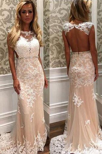 Tulle Open-Back Gorgeous Long Lace Crystal Prom Dress,Party Dress,Evening Dress