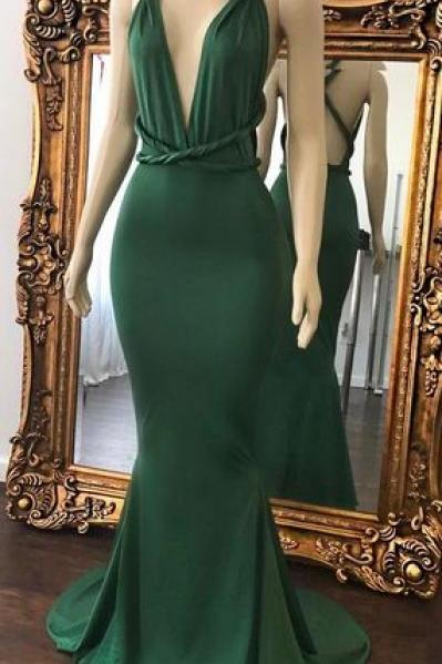 Sexy Green Prom Dresses ,Halter V-Neck Party Dress,Crisscross Back Mermaid Evening Gowns