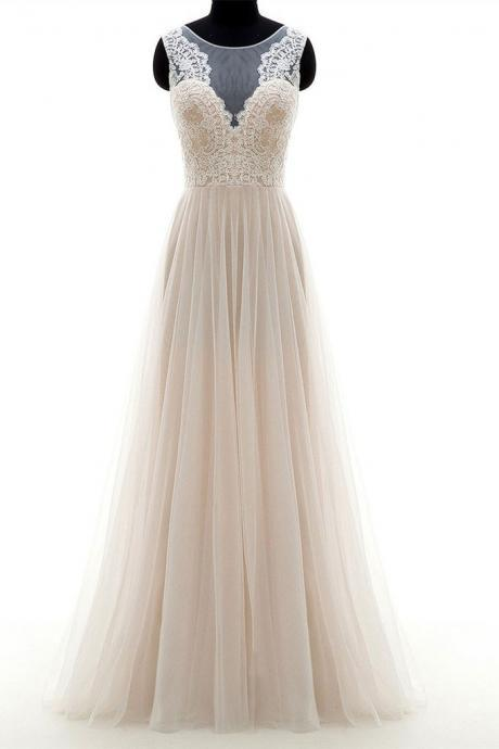 Champagne round neck tulle lace long prom dress, champagne party dress