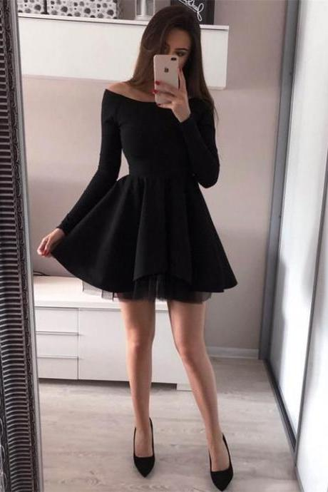Off-shoulder Long Sleeves Simple Prom Dress,Short Homecoming Dresses