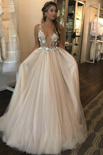 Deep V-Neck Prom Dresses ,Tulle Evening Dresses, A-Line Formal Dresses