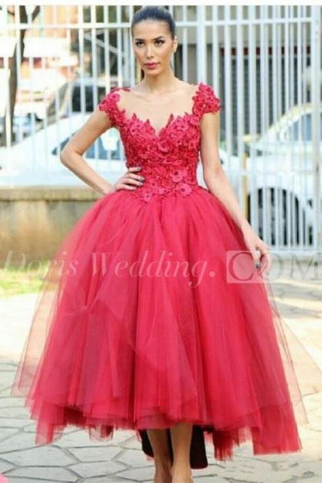 Newest Cap Sleeve Tulle Evening Dress ,Tea-length Lace Appliques Prom Dress,Red Party Dress