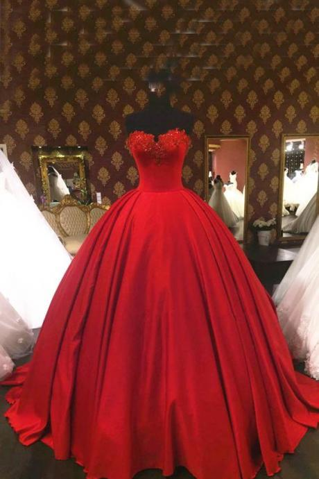 Red Tulle Ball Gowns,Floor Length Prom Dresses, strapless Beading Wedding Dresses,Bridal Dress,Red Evening Dress