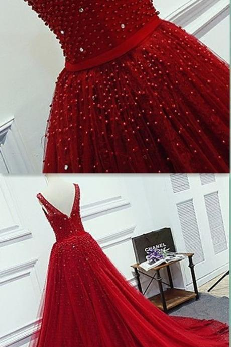Modest Quinceanera Dress,Red Ball Gown,Beaded Prom Dress,Fashion Prom Dresses,Evening Dress