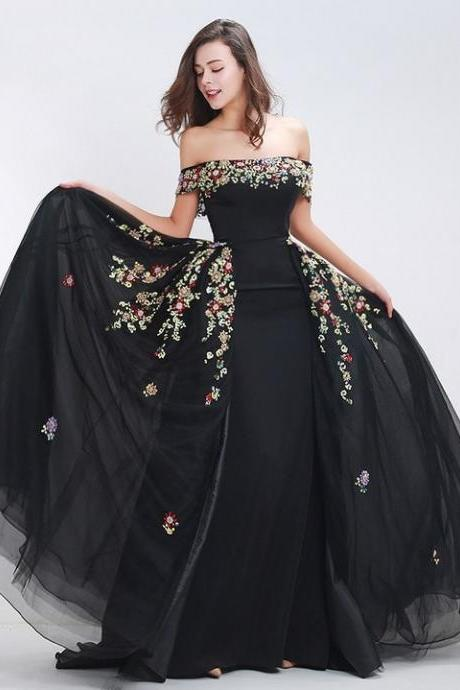 Off Shoulder Prom Dress, Sexy Evening Dress, Party Dress With Applique