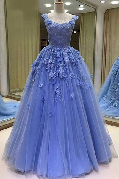Blue tulle sweetheart prom dress, 3D lace appliques evening dress, floor length evening dress