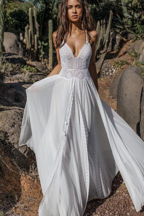Bohemian wedding dress ,beach wedding dresses spaghetti straps evening dress