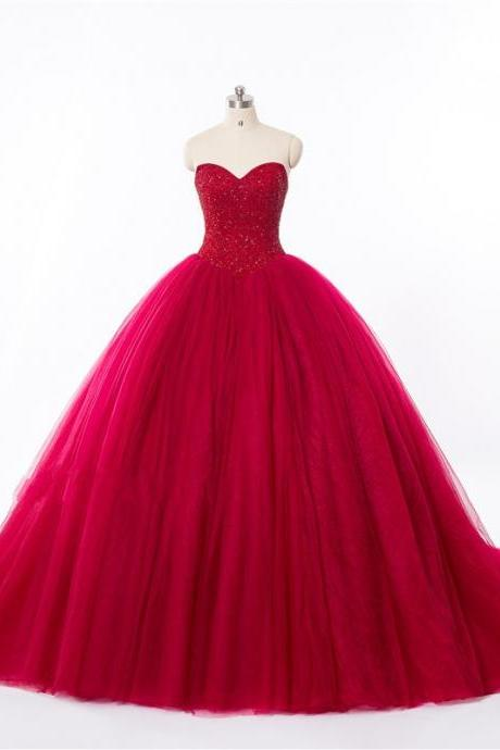 Ball Gown Red Wedding Dress,Sweetheart Red Tulle Prom Dress,Ball Gown Beaded Red Bridal Dresses