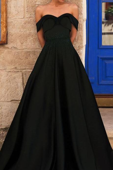 Fabulous Satin Off-the-shoulder Evening Dress,Neckline Floor-length A-line Prom Dress ,Party Dress With Rhinestones