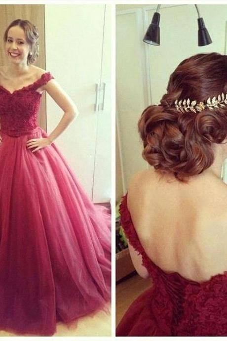 Sexy Off Shoulder Prom Dresses,Burgundy Ball Gown Graduation Dresses,Burgundy Tulle Prom Gowns