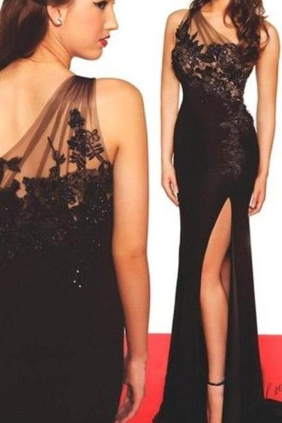 One Shoulder Black Evening Dress,Sexy Slit Lace Prom Dress, Mermaid One Shoulder Black Party Dress