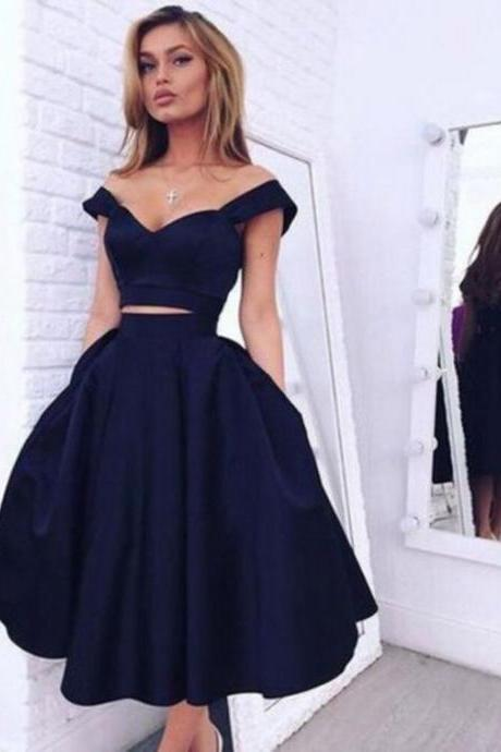 Two Pieces Homecoming Dresses,Off Shoulder Straps Homecoming Gowns,Navy Blue Homecoming Dresses,Navy Blue Two Pieces Formal Dresses,Off Shoulder Graduation Party Dresses