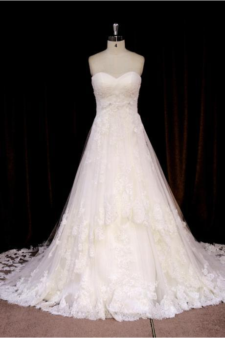 Lace Wedding Dress,A Line White Wedding Dresses,Long Wedding Gown,Bridal Dress